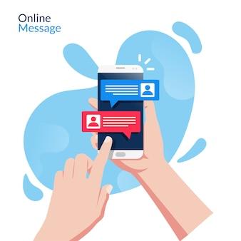 손을 잡고 온라인 메시징 응용 프로그램 개념 스마트 폰입니다. 액체 배경을 가진 온라인 사물을위한 기술.