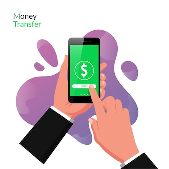 Hand holding smartphone with online money transfer app concept. technology for online business with liquid background .