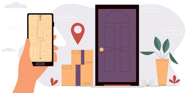 Hand holding a smartphone with an open map online delivery service isolated vector illustration