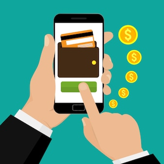 Hand holding smartphone with a purse and credit card on the screen. mobile banking and mobile payment.  illustration.