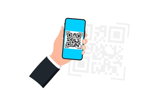 Hand holding smartphone with qr code scanner. qr code scanner. scanning qr code, barcode on mobile phoneñŽ concept contactless payment , online shopping , cashless technology
