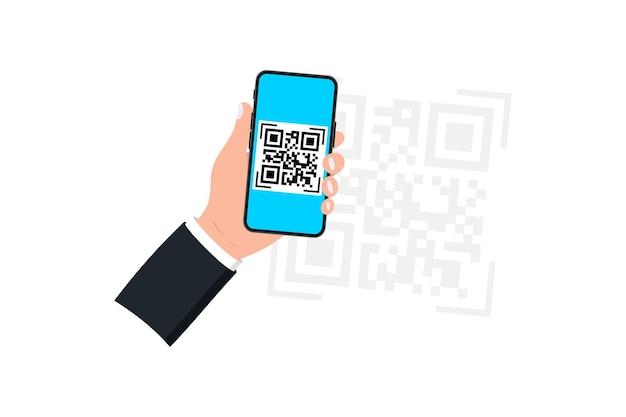 Рука смартфон со сканером qr-кода. сканер qr-кода. сканирование qr-кода, штрих-кода на мобильном телефонеñž концепция бесконтактной оплаты, интернет-магазины, безналичная технология