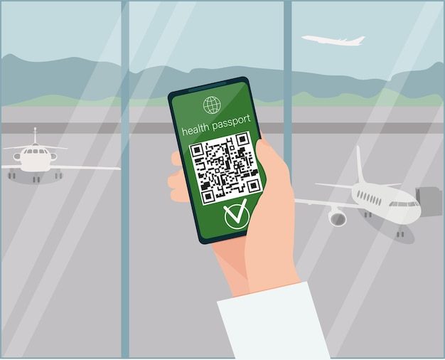 A hand holding a smartphone with a qr code, the status of vaccination. an airport. vector