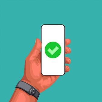 Рука смартфон с знак успеха