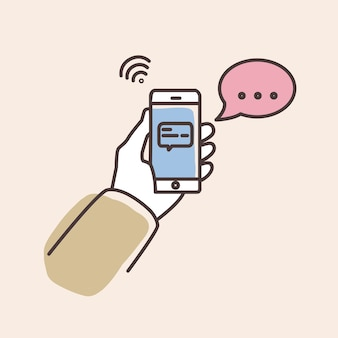 화면 및 연설 거품에 문자 메시지와 함께 스마트 폰 들고 손. 채팅 또는 메신저 알림이있는 전화. 인스턴트 메시징 서비스, 채팅