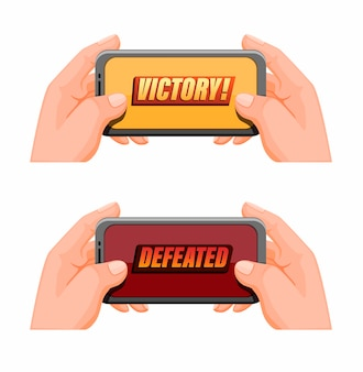 Рука, держащая смартфон с текстом победы, мобильный игровой киберспорт в векторе иллюстрации шаржа