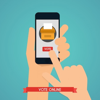 Hand holding smartphone with voting app on the screen. communication systems and technologies.