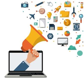 Hand holding speaker laptop marketing news media