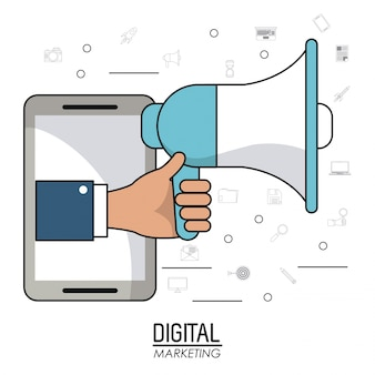 Hand holding speaker smartphone digital marketing