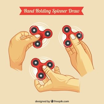 Hand holding spinners collection