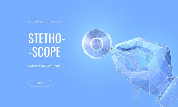Рука держа стетоскоп. концепция медицинского осмотра или проверки организма.