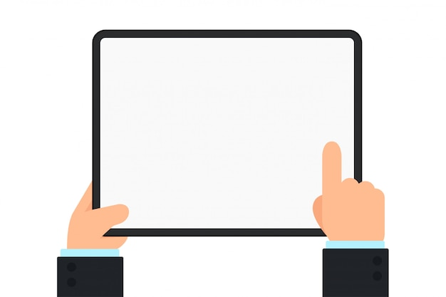 The hand holding the tablet. the hand of the business man pointing at the tablet screen.