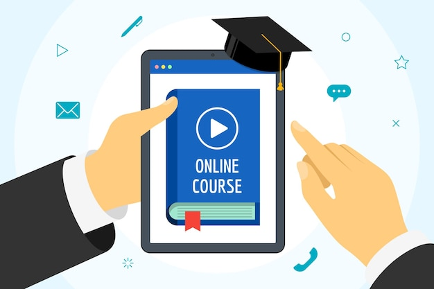 Hand holding tablet with online course blue cover book. distance education concept with play video button and graduation cap. e-learning studying and internet teaching banner vector illustration flat