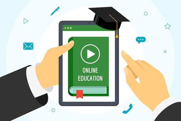 Hand holding tablet with online course green cover book. distance education concept with play video button and graduation cap. e-learning studying and internet teaching banner vector flat illustration