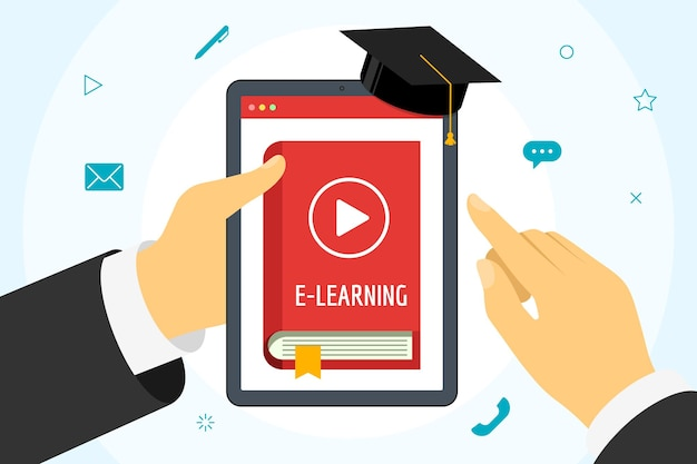 Hand holding tablet with online course red cover book. distance education concept with play video button and graduation cap. e-learning studying and internet teaching banner vector flat illustration