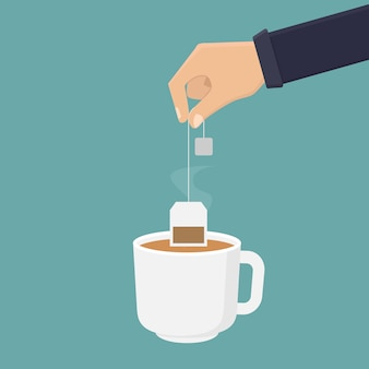 Hand holding tea bag and dipping tea into a glass illustration
