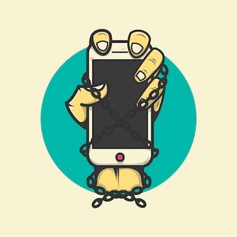 Рука держит мобильный телефон прикованной иллюстрации premium векторы
