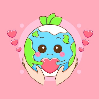 손을 잡고 귀여운 지구