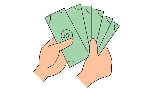 お金の紙幣を持っている手
