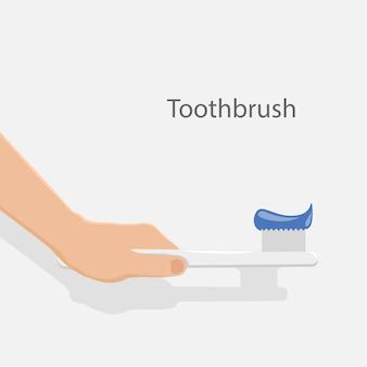 手持ちの歯ブラシ。