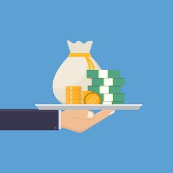 Hand holding tray of money illustration
