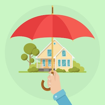 Hand holding umbrella protecting house as property and health insurance illustration
