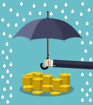 Рука зонтик под дождем