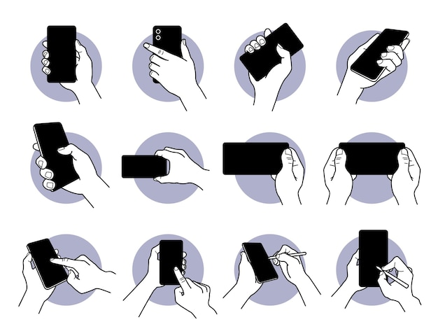 Hand holding and using smart phone with black blank screen icon set.