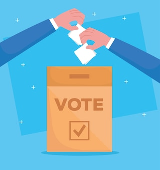 Hand holding vote paper and box design, vote elections day and government