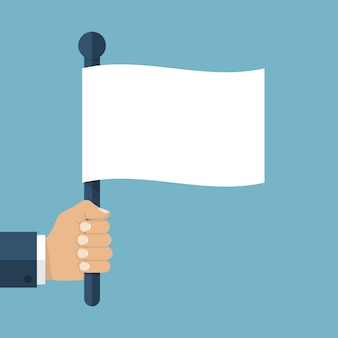 Hand holding a white flag. vector illustration of a flat design.