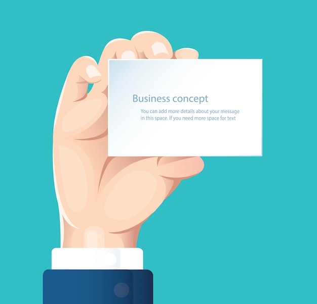 Hand holding white paper isolate on blue background vector