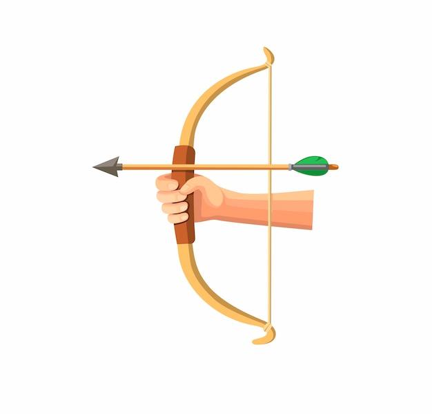 손을 잡고 흰색 배경에서 격리하는 만화 평면 그림에서 나무 활, 양궁 기호