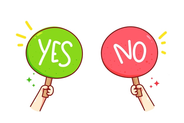 Hand holding yes or no sign vector art illustration