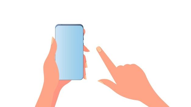 手は携帯電話を持っています