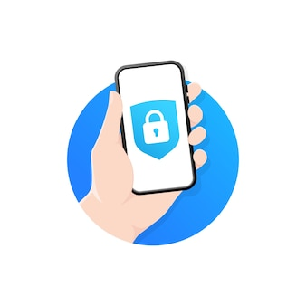 손은 잠금 아이콘 화면에 스마트 폰을 보유하고 있습니다.