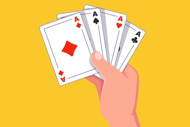 Hand holds four aces. winning the card game. flat  illustration.