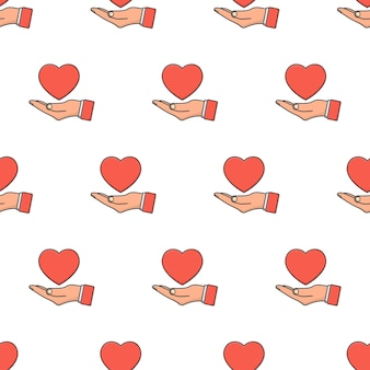 Hand holds love heart seamless pattern on a white background. love theme illustration