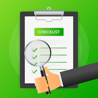 Hand holds magnifying glass over tablet with checklist on green background.