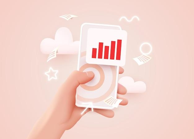 Рука держит мобильный телефон с анализом рыночных тенденций. инфографическая статистика на экране мобильных технологий