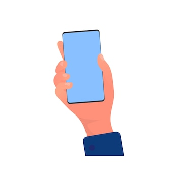 Hand holds a phone. phone in hand isolated on white background. vector.
