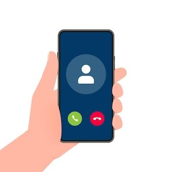 Рука держит телефон с вызовом входящий видеозвонок на экране на белом фоне