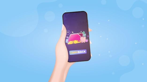 캐쉬백 앱이 있는 휴대전화를 손에 들고 있습니다. 큰 지갑, 신용 카드, 금화, 달러. 돈, 캐쉬백 또는 부를 절약하는 개념. 벡터.