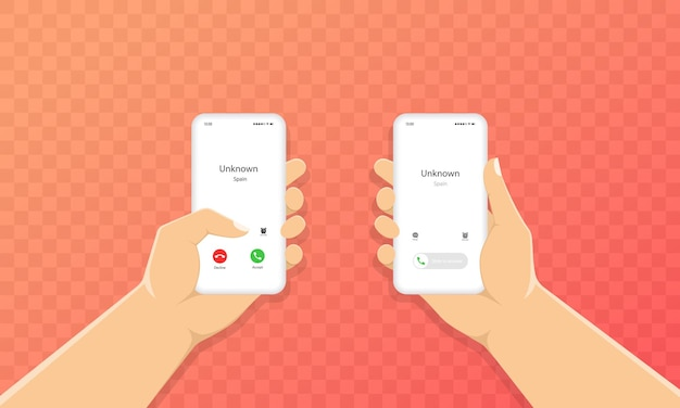 Hand holds phone with incoming call icon.