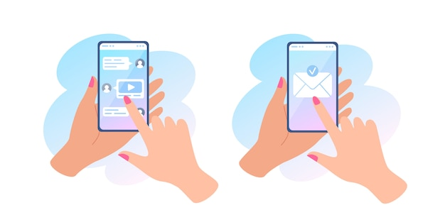 A hand holds a phone with a message on screen, sending a message and online chat, envelope on touch screen.