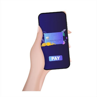 A hand holds a phone with a payment application. pay button. credit card, gold coins, dollars. concept of online shopping and payment. vector.