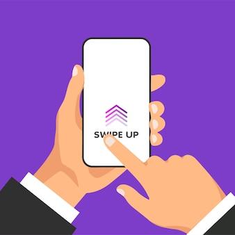 손은 화면에 소셜 미디어에 대한 빠른 액세스 버튼이있는 전화기를 보유하고 있습니다. 다른 앱에서 광고 및 마케팅을위한 스크롤 화살표 및 웹 아이콘. 남자는 스마트 폰 디스플레이를 위로 스 와이프합니다.