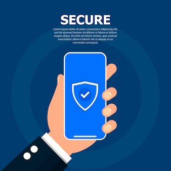 Hand holds phone with a security token on screen.