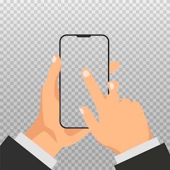 手は白い空の画面で電話を保持します。空白のディスプレイとスマートフォンのテンプレートまたはモックアップ。男は、透明な背景に分離されたスマートフォンのディスプレイをクリックします。スマートテクノロジー。