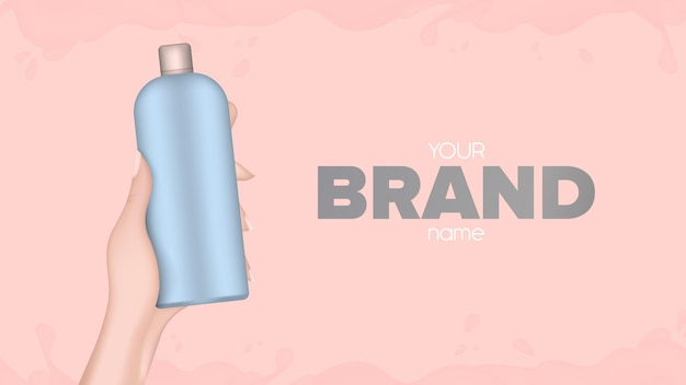 Hand holds a plastic bottle. realistic female hand with a bottle. good for shampoo or shower gel. banner for advertising cosmetics. vector.