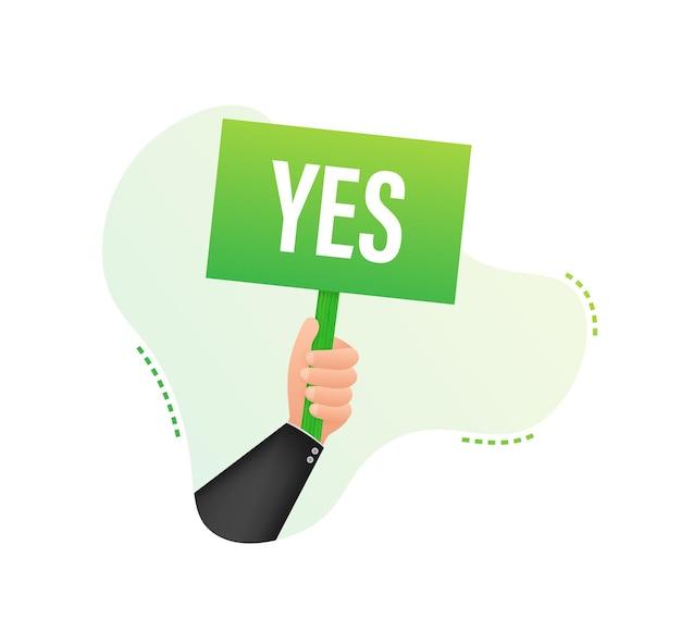 Рука держит знак с зеленой галочкой да. удовлетворение, принятие. векторная иллюстрация штока.